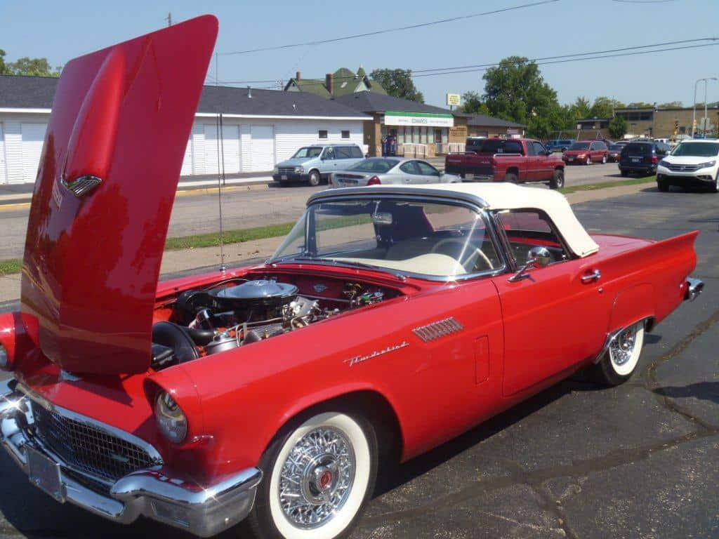 1957 Ford Thunderbird Restoration | Red with hood open